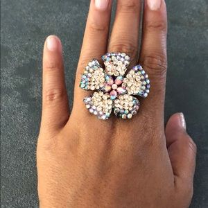 Multicolor floral cocktail ring